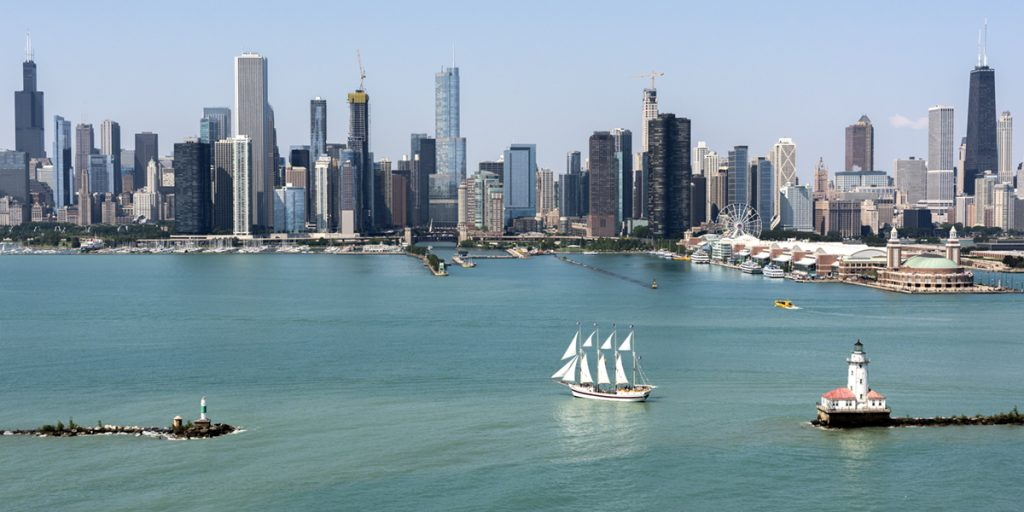 Aerial view of Chicago's skyline from Lake Michigan